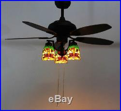 Makenier Vintage Tiffany Stained Glass Dragonfly Downlight Ceiling Fan Light Kit