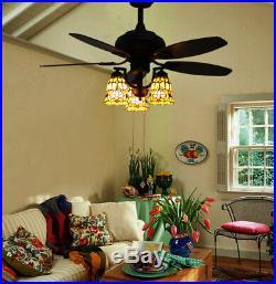 Makenier Vintage Tiffany Stained Glass Flowers Downlight Ceiling Fan Light Kit