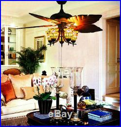 Makenier Vintage Tiffany Stained Glass Flowers Uplight Ceiling Fan Light Kit