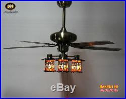 Makenier Vintage Tiffany Style 4-light Dragonfly Downlight Ceiling Fan Light Kit