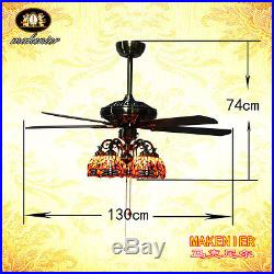 Makenier Vintage Tiffany Style 5-light Dragonfly Downlight Ceiling Fan Light Kit