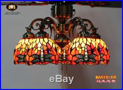 Makenier Vintage Tiffany Style 5-light Dragonfly Downlight Ceiling Fan Light Kit