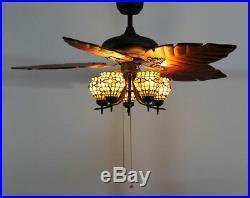 Makenier Vintage Tiffany Style 5-light Flowers Uplight Ceiling Fan Light Kit