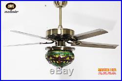 Makenier Vintage Tiffany Style Dragonfly Single-light Ceiling Fan Light Kit