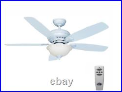 Matte White Ceiling Fan LED Indoor 52 in. With Light Kit and Remote Control