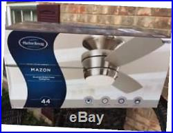 Mazon 44-in brush nickel flush mount indoor ceiling fan with led light kit with