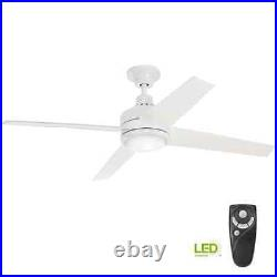 Mercer 52 in. Integrated LED Indoor White Ceiling Fan with Light Kit and Remote