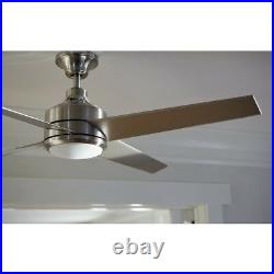 Mercer 52 in. LED Ceiling Fan Indoor Brushed Nickel with Light Kit Remote Control