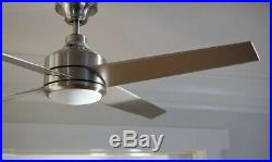 Mercer 52 in. LED Indoor Brushed Nickel Ceiling Fan with Light Kit and Remote