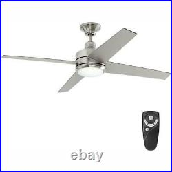 Mercer 52 in. LED Indoor Brushed Nickel Ceiling Fan with Light Kit and Remote Co
