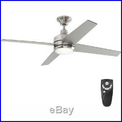 Mercer Ceiling Fan Light Kit Remote Control Silver Blades Brushed Nickel 52 in