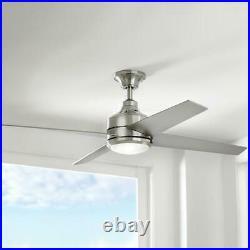 Mercer Ceiling Fan Light Kit Remote Control Silver Blades Brushed Nickel 52 in