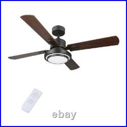 Merra 52 in. LED Indoor Old Bronze Ceiling Fan with Light Kit and Remote Control