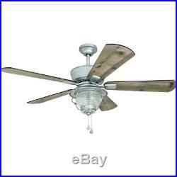 Merrimack 52-in Galvanized LED Indoor/Outdoor Ceiling Fan With Light Kit 5-Blade