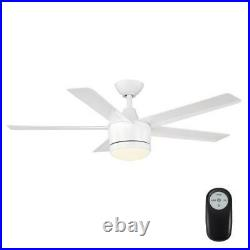 Merwry 48 in. Integrated LED Indoor White Ceiling Fan with Light Kit & Remote HDC