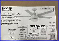 Merwry 48 in. Integrated LED Indoor White Ceiling Fan with Light Kit and Remote