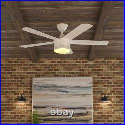 Merwry 52'' Integrated LED Indoor White Ceiling Fan with Light Kit & Remote HDC