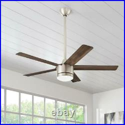 Merwry 52 in. Integrated LED Indoor Brushed Nickel Ceiling Fan with Light Kit