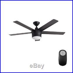 Merwry 52 in. Integrated LED Indoor Matte Black Ceiling Fan with Light Kit