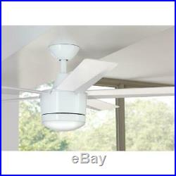 Merwry 52 in. Integrated LED Indoor White Ceiling Fan with Light Kit and Remote