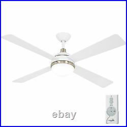 Minka Aire F623L-WHF/SBR Orb 54 Ceiling Fan with Light Kit, Flat White with