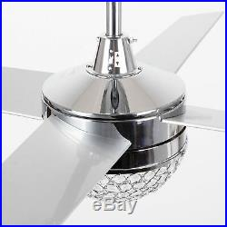 Modern 4-Blades 48-inch Crystal Ceiling Fan with Remote and Light Kit Chrome