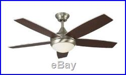 Modern 52 Brushed Nickel / Walnut Ceiling Fan with Remote Control & Light Kit