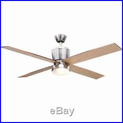 Modern 52 inch Ceiling Fan with Light and Remote Control Kit Brushed Nickel NEW