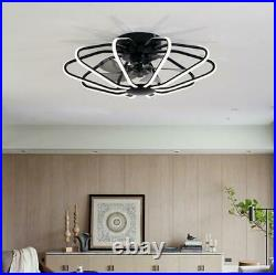 Modern Ceiling Fan With Light kit Remote Control LED Warm White Lamp Black/White