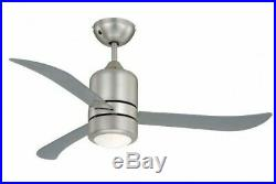 Modern ceiling fan with light kit and remote Loft Nickel / Clear 112 cm 44