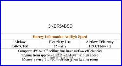 Monte Carlo 3NDR54BSD Nord 3-Blade 54 Indoor Ceiling Fan with Light Kit & Remote