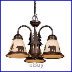 NEW 3 Light Rustic Bear Chandelier Fixture or Ceiling Fan Light Kit Bronze
