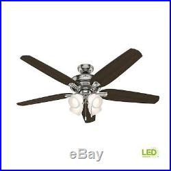 NEW! Ceiling fan Hunter Channing 60 in. LED Indoor Brushed Nickel with Light Kit