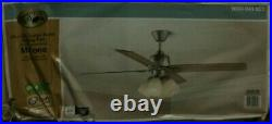 NEW! HAMPTON BAY Malone 54 in. LED Brushed Nickel Ceiling Fan with Light Kit