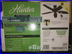 NEW HUNTER Channing 52 in. LED Indoor New Bronze Ceiling Fan with Light Kit