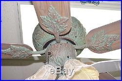 NEW MINKA F645-OC Old Corona CEILING FAN with 3-LIGHT KIT Verde Leaves WINDSOR