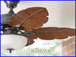 NEWPalm Leaf Blades 44 inch Indoor Outdoor Natural Ceiling Fan Glass Light Kit