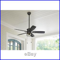 Natural Iron 52 in LED Indoor/Outdoor Ceiling Fan 3-Speed With Light Kit Fixture