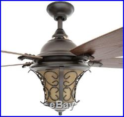 Natural Iron Ceiling Fan With Light Kit And Wall Control 52 In. Indoor/Outdoor