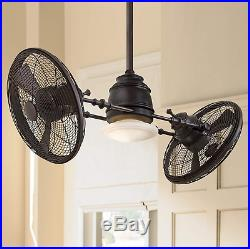 Nautical Oscillating Ceiling Fan Unique Dual Twin Cage Gyro Industrial Light Kit