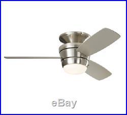 New 3 Blade 44-in Brushed Nickel Indoor Flush Mount Ceiling Fan Light Remote Kit