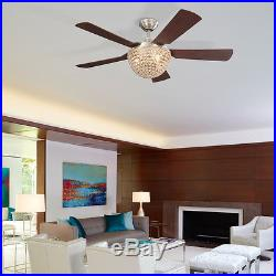 New 52-in Brushed Nickel Downrod Mount Residential Remote Ceiling Fan Light Kit