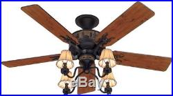 New Adirondack 52-In Brittany Bronze Indoor Downrod Mount Ceiling Fan Light Kit