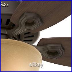 New Bronze Ceiling Fan with Light Kit Hunter Builder Deluxe 52 in Blades Indoor