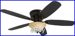 New Ceiling Fan 52-in Oil Rubbed Bronze Indoor Flush Mount Light Kit and Remote