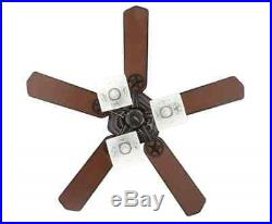 New Ceiling Fan Natural Iron 3-Speed 3-Etched Frosted Glass Light Kit 5-Blades