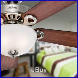 New Ridgefield Bowl 44-In Brushed Nickel Downrod Mount Ceiling Fan Light Kit