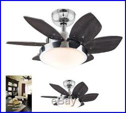 OpenBox Quince 24-Inch Chrome Indoor Ceiling Fan, Light Kit with Opal Frosted