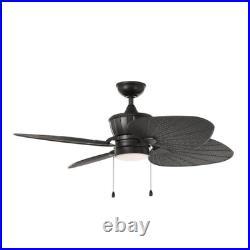 Outdoor 52 Ceiling Fan Tropical Palm Tree Leaf Nautical Coastal Patio Light Kit