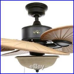 Outdoor Indoor 48 Small Patio Ceiling Fan Unique Palm Leaf Iron LED Light Kit